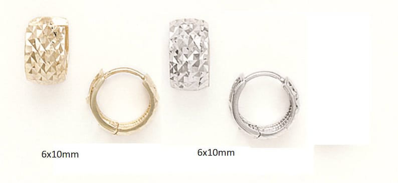 14K Pure Solid YellowWhite Gold 14K Huggies Round Thick Fancy With Diamond Cuts Huggie Earrings Set 7x10mm RH89 Mothers Day Gift