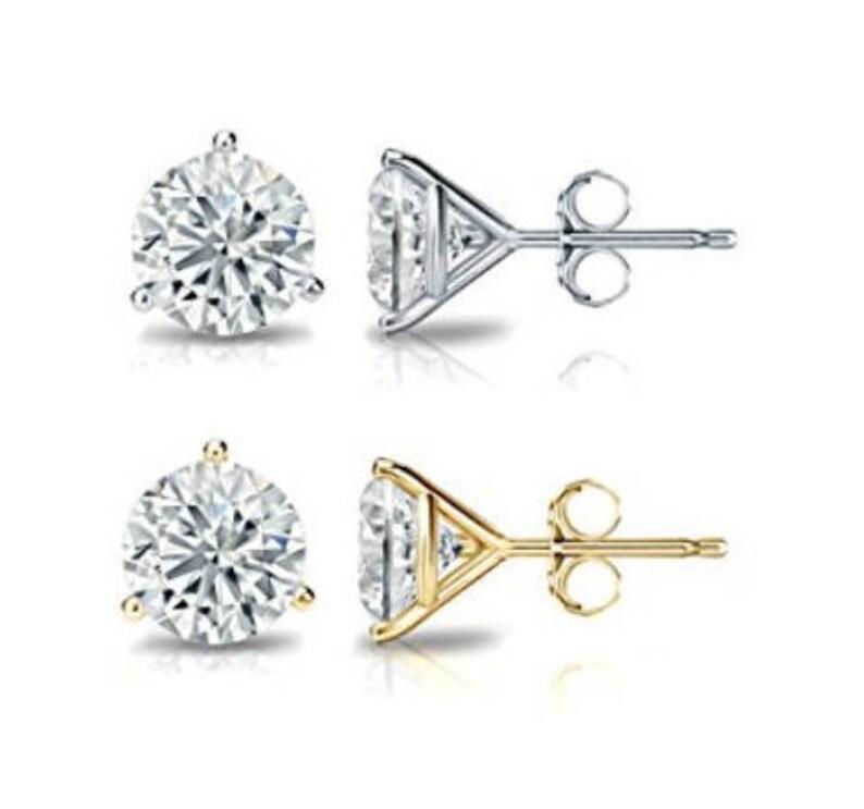 5260a66f3459f9 14k Solid Gold 3-Prong Martini Round Diamond Stud PUSHBACKS | Etsy