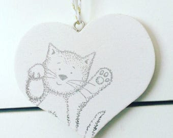 Cat hanging heart plaque/animal lover gifts