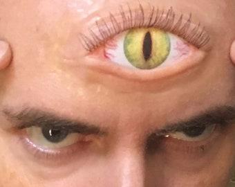 Extra Large Third Eye Prosthetic with glossy eye insert for cosplay (eg. Demon, Anime, Fantasy, Mutant)