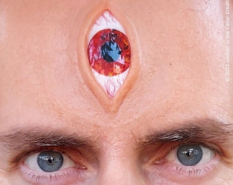 Extra Large Vertical Third Eye Prosthetic with glossy eye insert (in various colours) with eyelash for cosplay (eg. Demon, Alien, Anime)