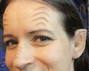 Alien or Mermaid Ridges Prosthetic Set with Ears for Sci-fi or Fantasy Cosplay (eg. Alara Kitan from The Orville) 5 piece SFX makeup