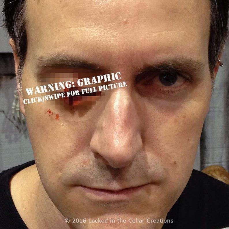 a79eeb8f174 Missing Eye prosthetic gouged out eye zombie prosthetic | Etsy