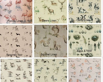 Clarke and Clarke - Countryside Collection Linen Sheep, Robin, Rabbit, Eggs & Nest, Deer, Dogs