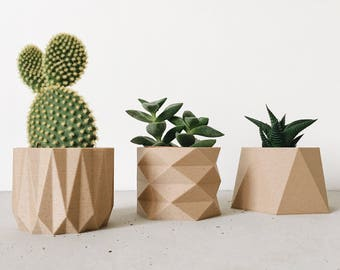 Set de 3 mini pots cache-pots design géométriques et minimalistes imprimés en Bois Hygge Parfait pour plantes grasses et cactus Cadeau