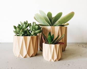 Indoor wood planter ORIGAMI - Original planter gift