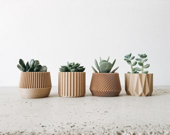 Set of 4 small indoor planters - original planter gift