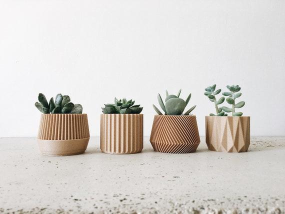 set de 4 petits cache pots bois succulente cactus etsy. Black Bedroom Furniture Sets. Home Design Ideas