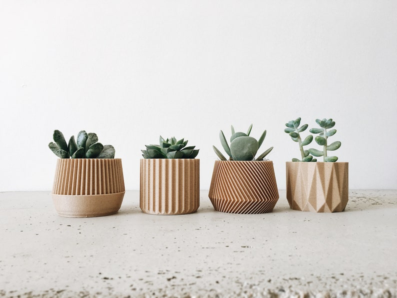 Set of 4 small indoor planters  original planter gift  image 0