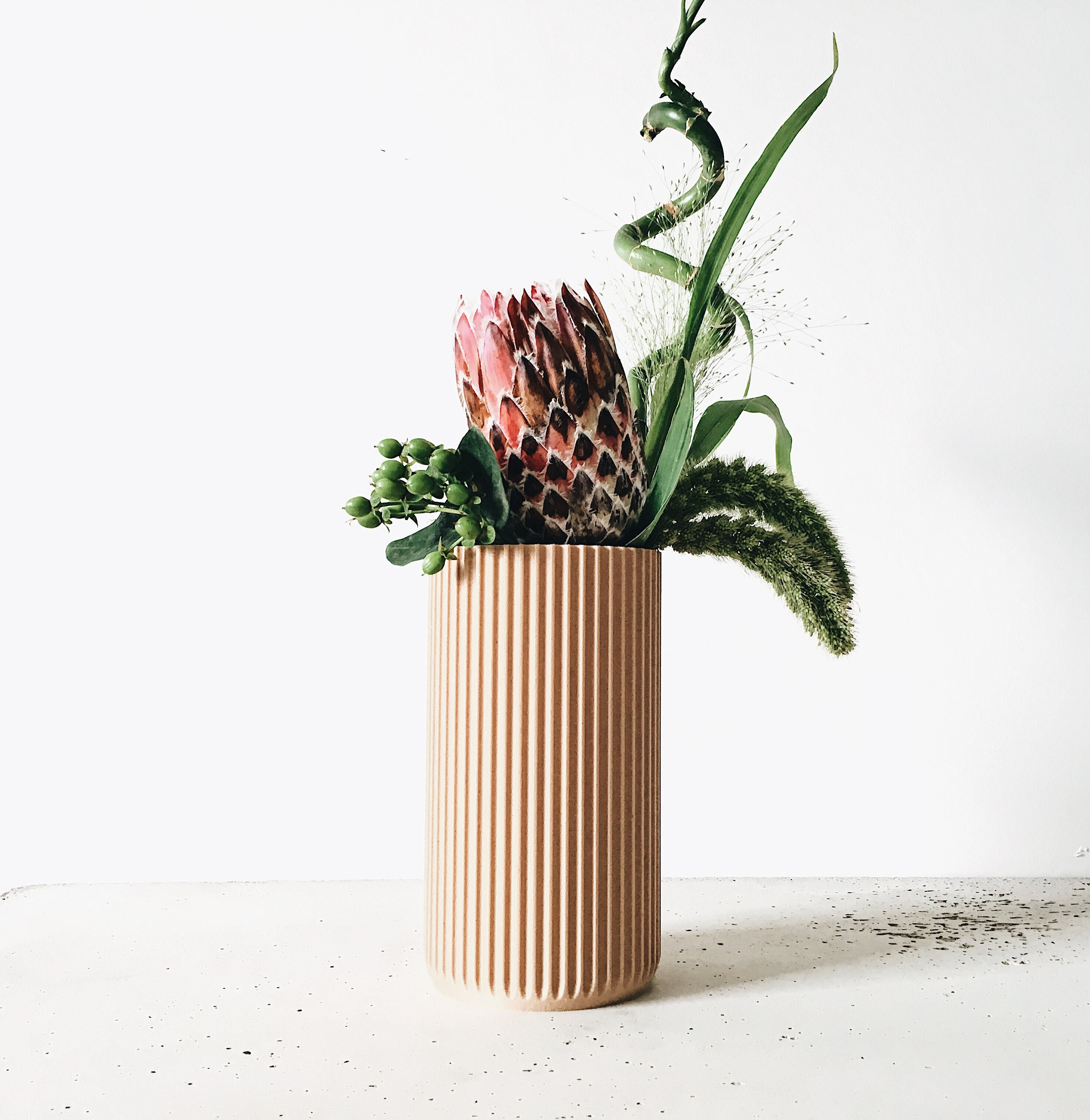 L Ikebana Pas À Pas large vase - design & minimalist vase - dry flowers pot - stockholm printed  in wood - scandinavian hygge decor - original gift for her