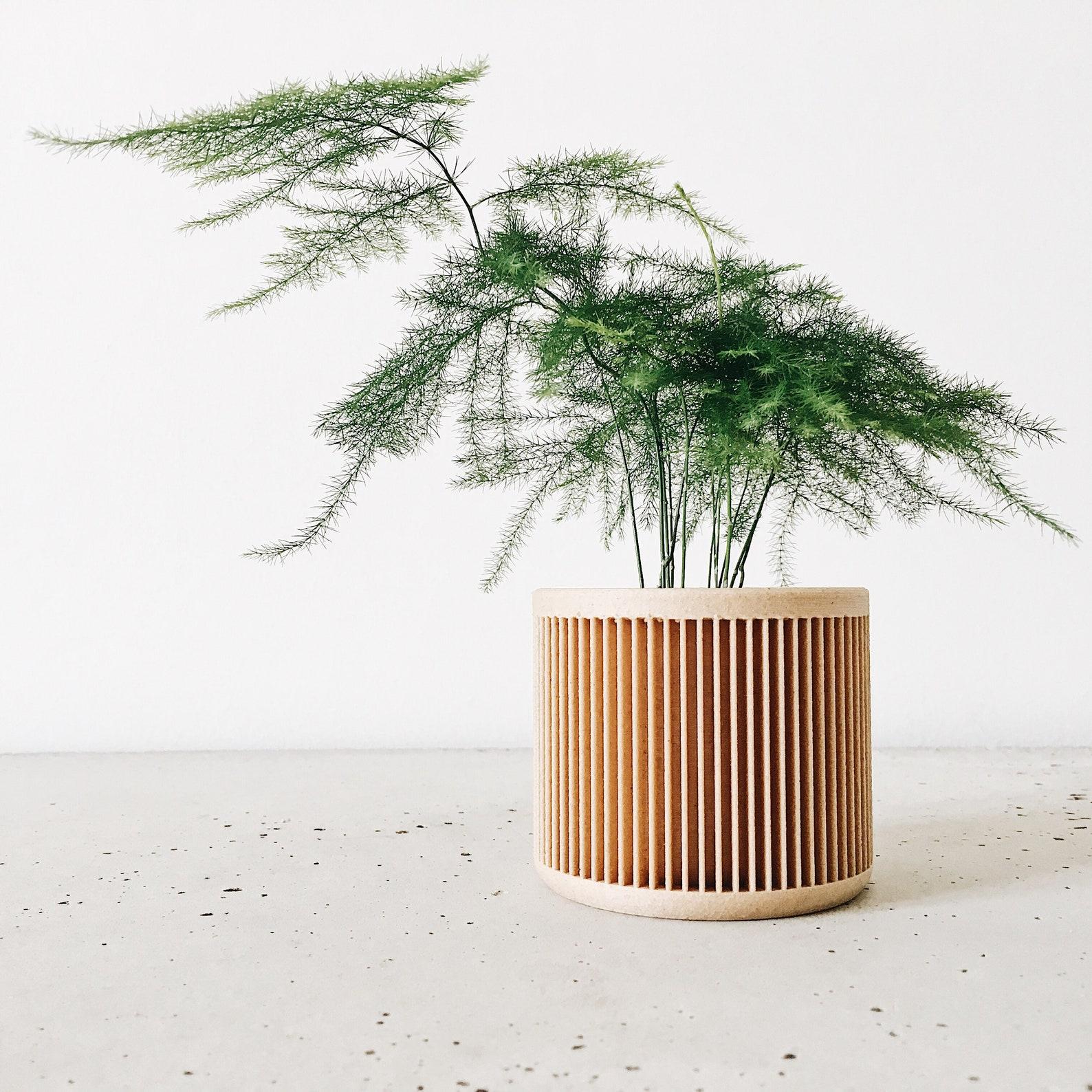 Artisan Geometric Wooden Mid Century Modern Planter