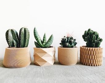 Set of 4 small indoor planters - Original planter gift !