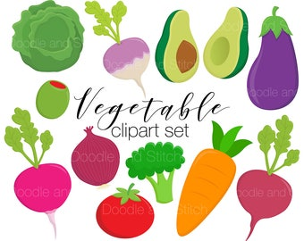 Vegetable Clipart Set, Veggie Clip Art Pictures, Veg Vector Illustrations, Cute Vegetables