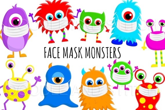 Monsters Wearing Face Masks Cute Monster Clipart Face Mask | Etsy