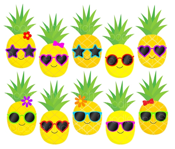 Pineapple Clip Art Pictures Pineapples in Sunglasses ...