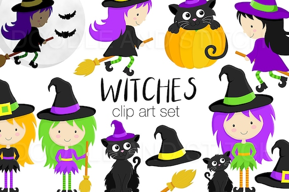 Witch Clip Art Pictures Witches Clipart Designs Halloween Etsy
