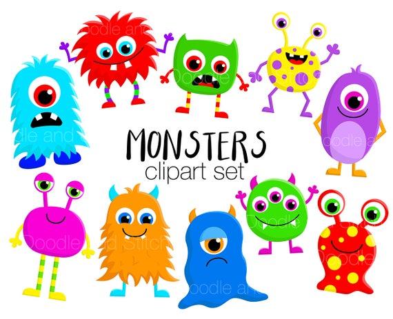 monster clipart set cute monsters clip art designs fun etsy rh etsy com clip art monster truck clip art monster truck