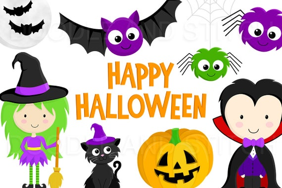 Halloween Clipart Pictures Cute Halloween Clip Art Designs | Etsy