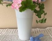 Hazel-Atlas Milk Glass Vintage Vase Fluted Top Edge Crinoline Pattern