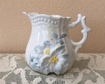 Antique Porcelain Creamer with Raised Flower Design / Shabby Chic Creamer