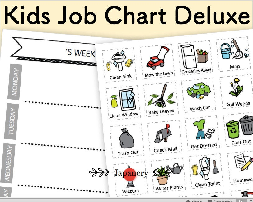 Kids Chore Routine Chart Deluxe Diy Set Printable Daily Etsy