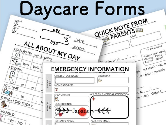 graphic relating to Printable Emergency Contact Form known as Daycare Day-to-day Short article Log Type/ Unexpected emergency Speak to Kind/ Daycare Beginner Package Printable