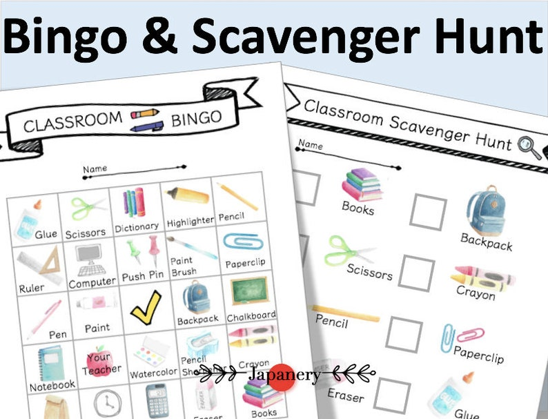 image about Classroom Scavenger Hunt Printable titled Scavenger Hunt Bingo [Clroom Topic] Back again in the direction of College or university Printable