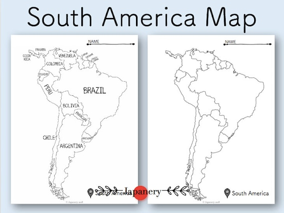 South America Map Printable Etsy