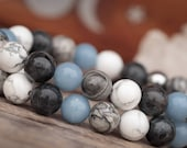 Anxiety Angelite Bracelet, Howlite Bracelet for Women, Calming Stone Bracelet, Blue Beaded Bracelet, Grey Jasper Bracelet, Anxiety Gift
