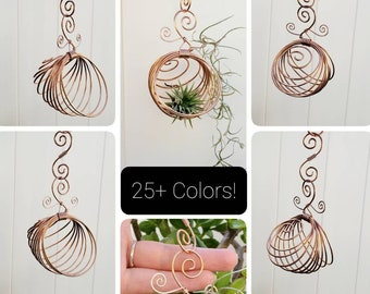 TillyNooks! Wire Wrapped Air Plant Hanger - Multicolor Tillandsia holder -  Spiral accented wire plant hanger delicate orb wire planter
