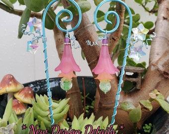 RainGLow ~ Fairy lantern Glow in the dark fairy garden lantern double star suncatcher wire wrapped hanging fairy light flower lamp