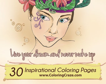 Inspirational Coloring Pages (30) - Motivational Adult Coloring Book - Grown Up Coloring - Instant Digital Download Printable PDF Quotes