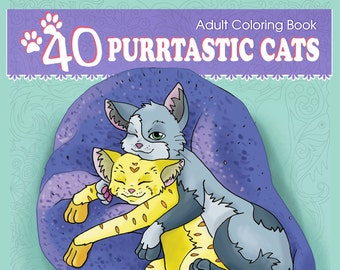 Adult Coloring Book: 40 Purrtastic Cats, Original Designs From 13 Artists