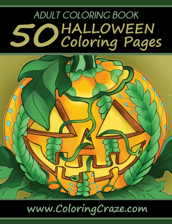Adult Coloring Book 50 Halloween Coloring Pages (Unique Illustrations  Designed By 13 Artists, Day of the Dead Art)