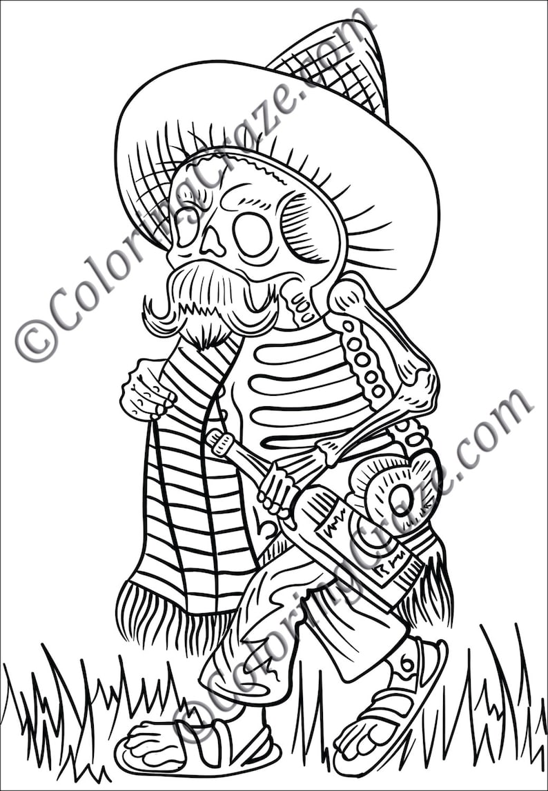 Day of the Dead Coloring Page 2 DIGITAL Printable PDF | Etsy