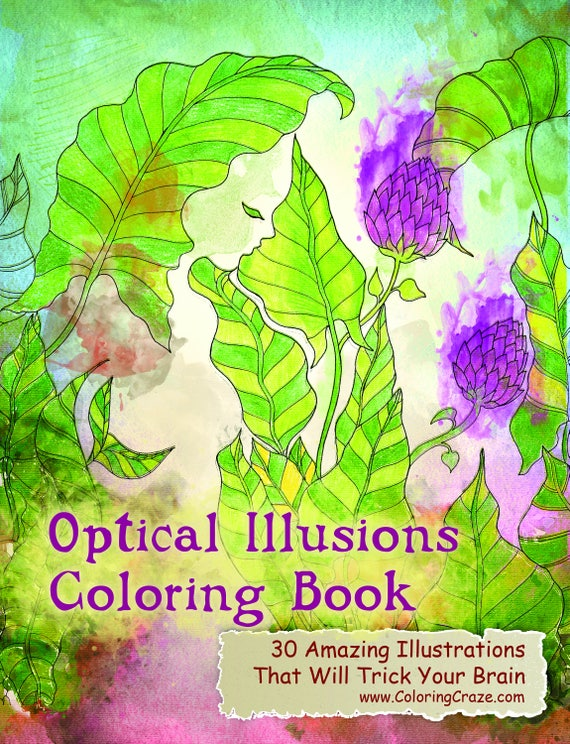 Optical Illusions Coloring Book 30 Adult Coloring Pages Etsy