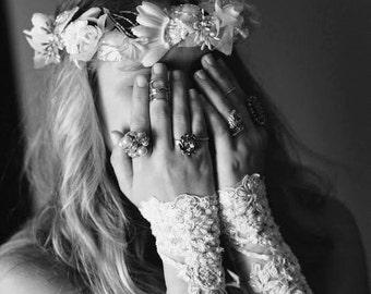 Lace Wedding Cuffs, Bridal Finger Less Gloves champagne lace glovelets wedding accessories bridal wear wrist cuffs autumn winter wedding