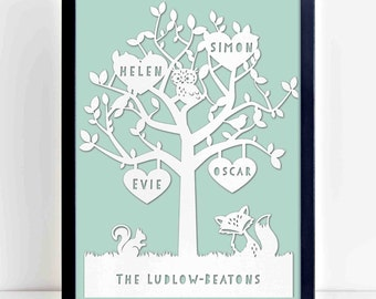 Personalised family tree papercut - unframed
