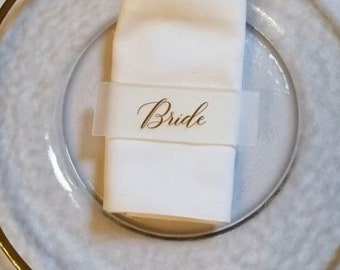 Frosted Acrylic Place names - Favours - Rectangle - Text colour & font options