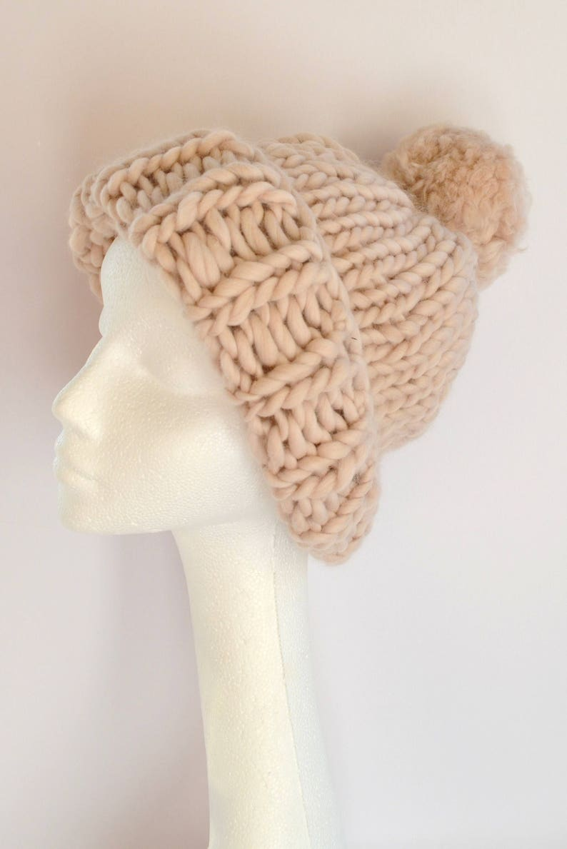80b4225d1c1 Cream bobble hat. Beige beanie hat. Slouchy hat. Merino wool