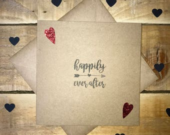 Handmade Happily Ever After Wedding Greetings Card