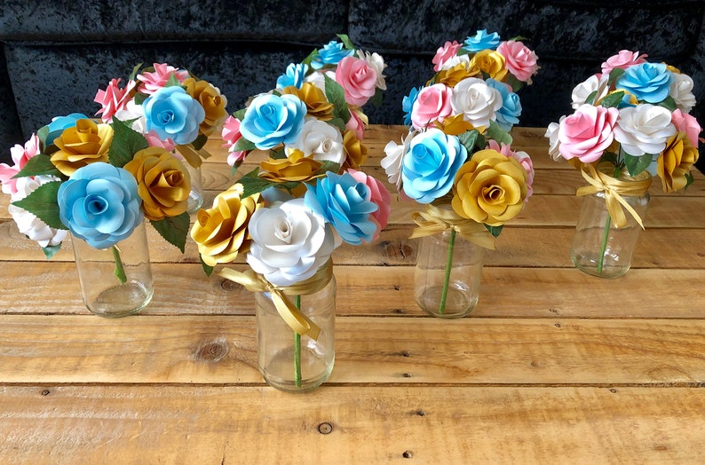 Available in any colour. Handmade Paper Flower Bouquet Table Decorations