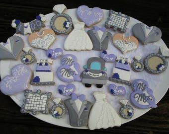 Wedding cookies - wedding dress tuxedo cake