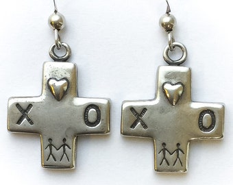 Sterling Silver Native American Dangle Earrings - vintage cross earrings, native american jewelry, indigenous jewelry, occult jewelry