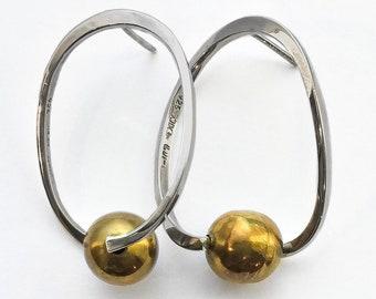 Modernist Orb Earrings - sterling silver vintage mexico modernist jewelry, atomic jewelry, orb earrings, huge earrings