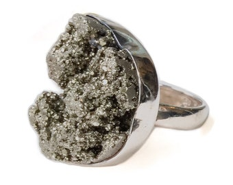 Huge Pyrite Ring Sterling Silver size 6 - large druzy ring, meterorite ring, vintage silver ring 6, crescent ring, unusual stone ring size 6