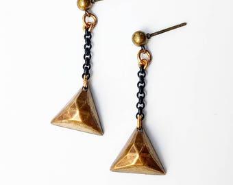 Bronze Pyramid Dangle Earrings ON SALE - puff triangle earrings, matte black chain earrings, long earrings lightweight