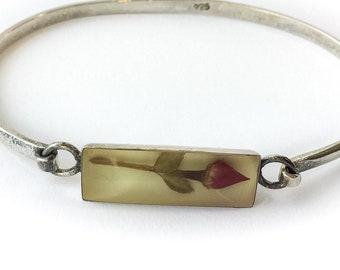 Sterling Silver Rose Bracelet medium - floral jewelry, vintage flower bracelet, plant jewelry botanical jewelry, botanical bracelet