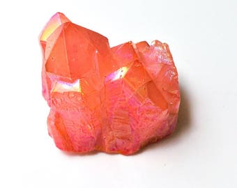 Neon Pink Titanium Quartz - peach pink crystal, pink quartz cluster, trippy decor, iridescent crystal, iridescent decor