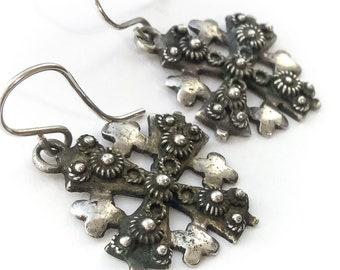 925 Silver Jerusalem Cross Dangle Earrings - vintage cross earrings, sterling silver cross earrings, vintage cross jewelry, israel earrings
